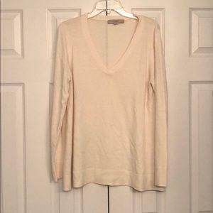 Loft Cream V-Neck Sweater EUC